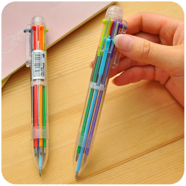 New 2X Colorful 6 in 1 Colour Ball Point Pen Ballpen Kids Child Student Writing