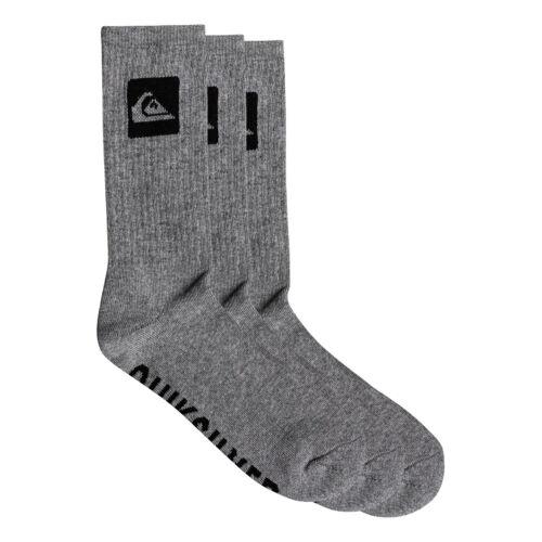 Quiksilver NUOVI Pantaloncini Uomo 3 Pack Crew Socks-Light Grigio Heather NUOVO CON ETICHETTA