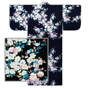 "Japanese Kimono Cotton Yukata SAKURA Pattern/58""L/B<wbr/>lack/ MADE IN JAPAN"