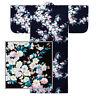 """Japanese Kimono Cotton Yukata SAKURA Pattern/58""""L/Black/ MADE IN JAPAN"""
