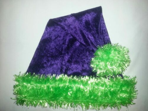 """24/"""" PURPLE Santa Hat with fluorescent LIME GREEN faux fur trim/& ball Goth RAVE"""