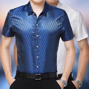 8be05e0b96 Image is loading Classic-Men-Silk-Satin-Dress-Shirt-Damask-Striped-