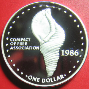 1986-MARSHALL-ISLANDS-1-PROOF-1oz-SILVER-TRITON-SHELL-COMPACT-FREE-ASSOCIATION