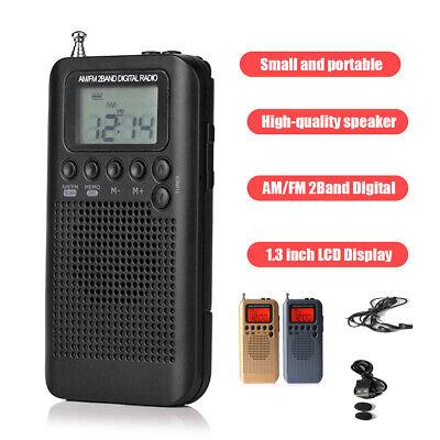HRD-104 Portable AM//FM Pocket 2-Band Digital Stereo Tuning Radio W//Earphone Q8R3