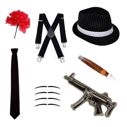 Gangster Fancy Dress Set Trilby Hat, Tie, Braces, Cigar, Moustache /& Carnation