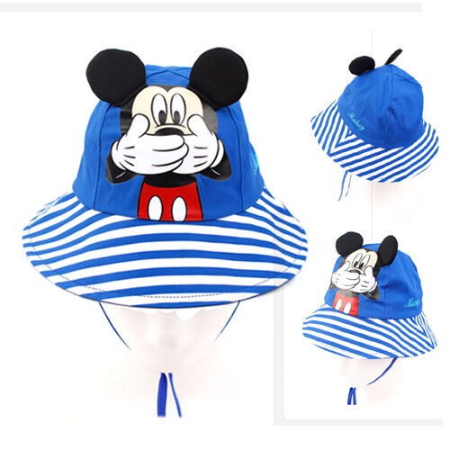 Boys Kids Children Blue Stripe Disney Mickey Mouse French Artist Beret Hat Cap