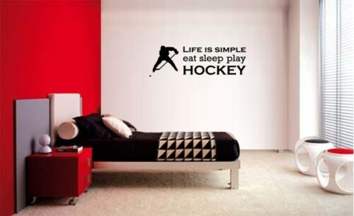 LIFE IS SIMPLE EAT SLEEP PLAY HOCKEY STICKER VINYL WALL QUOTE LETTERING DECAL