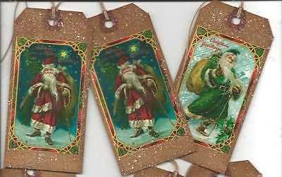 12 PRIMITIVE TAGS~Christmas Primitive~Here Comes Santa Claus!Set II