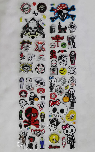 3D skull puffy bubble stickers scrapbook spooky halloween  birthday gift