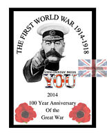 A4 World War 1 Anniversary Poster 100 Year Centenary commemorative Edition