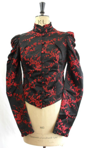 Blazer M Red Jacket Cherry Satin Black L amp; Coat Fitted Blossom Cosplay S Gothic agqw8a