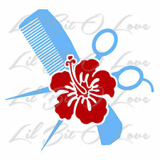 Cosmetology Hair Stylist Hibiscus Comb Scissors Vinyl Decal 2 Color Sticker Car