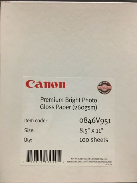 Canon 260 Gsm Gloss Digital Inkjet Paper 85x11 100 Sheets