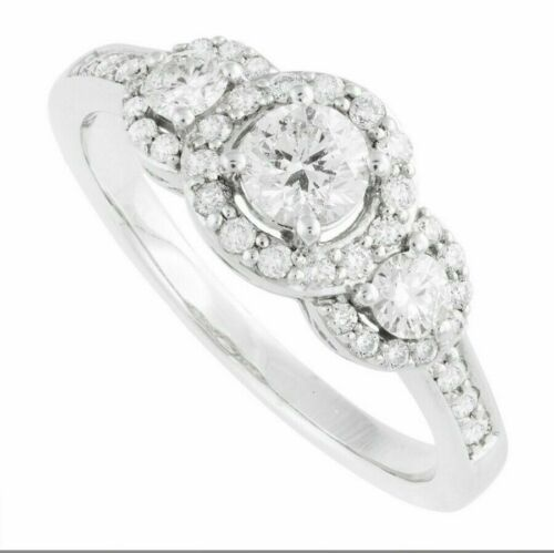 real solid 14k white gold 2 ct round cut 3 stone diamond engagement ring wedding