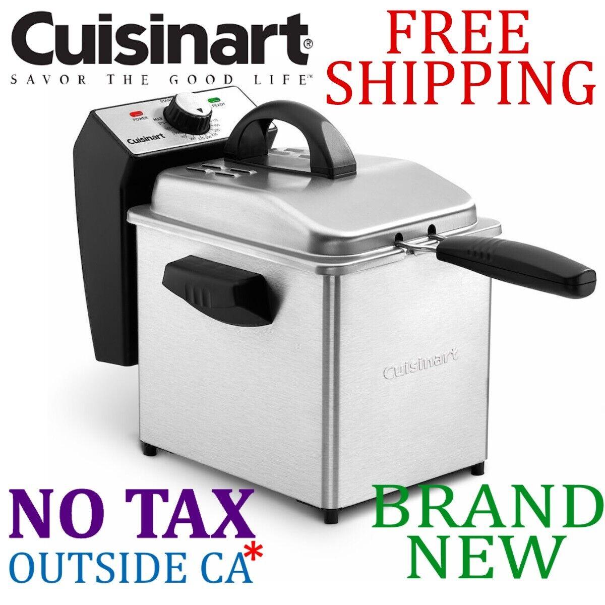 New Cuisinart Compact 2qt Quart DEEP FRYER w Mesh Basket Temp Control 1500W
