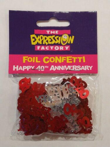 Red /& Silver Ruby Anniversary metallic confetti 40th Anniversary.