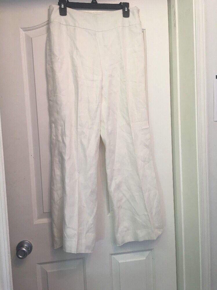 LAUREN RALPH LAUREN A79 100% Linen White Pants Size 6 (30x29)