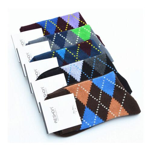 5Pairs Soft Men/'s Multicolors Socks Argyle Dress Socks New Casual Cotton Socks