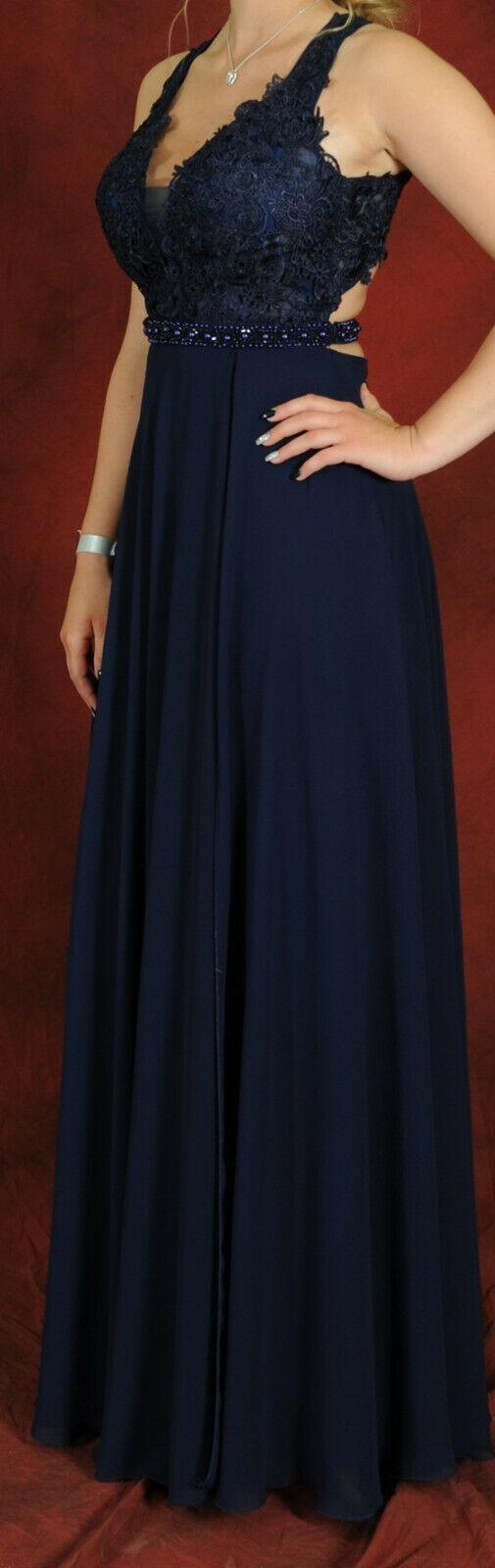 Damen Abendkleid Abiball Kleid Rückenfrei Bodenlang Gr.S