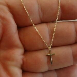 14K-YELLOW-GOLD-OVER-925-STERLING-SILVER-CROSS-NECKLACE-PENDANT-18-039-039-CHAIN