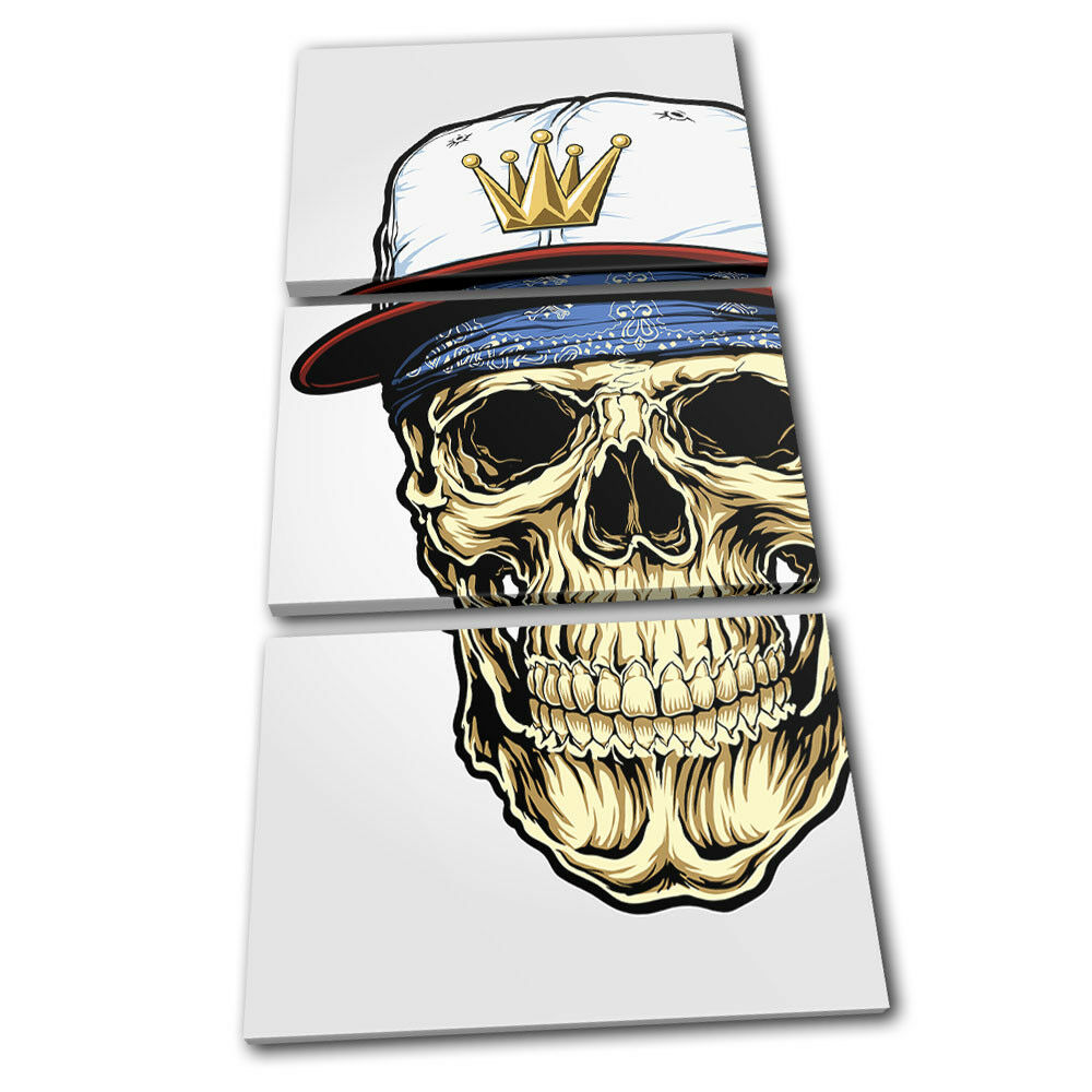 Skull Gangster Illustration TREBLE Leinwand Wand Kunst Bild drucken