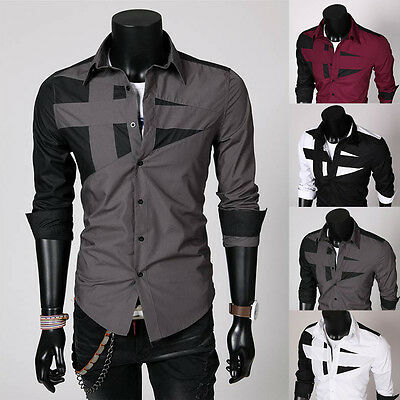 Top Quality Mens Slim Fit Unique Neckline Stylish Dress Long Sleeve Casual Shirt