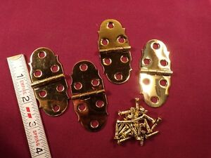 2-Pair-Solid-Brass-Box-Chest-Door-Surface-Mount-Hinges-Small-Hinge-Vintage