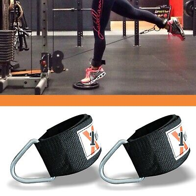 D RING ADJUSTABLE WRIST ANKLE STRAP MULTI GYM CABLE ATTACHMENT FITNESS CUFFS