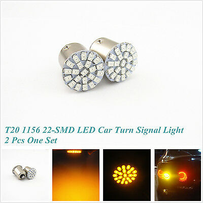 2 x 22SMD LED Car Tail Rear Turn Signal Light Yellow/Amber Bulb Lamp BA15S 1156