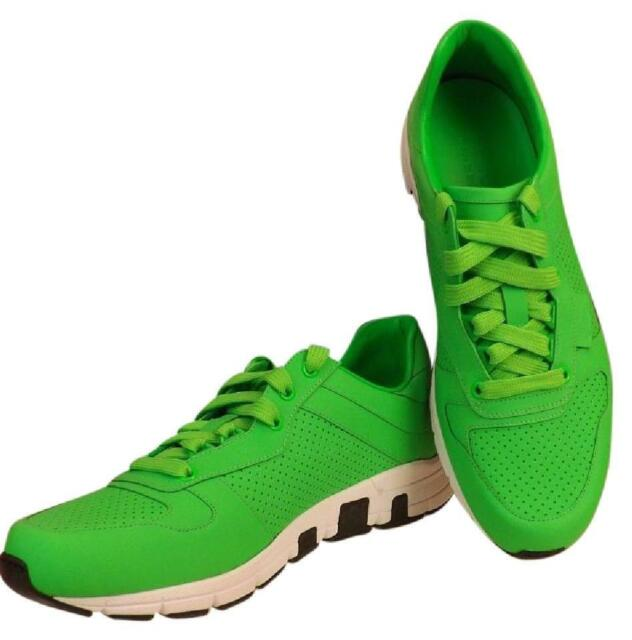 0247c5f11 NIB GUCCI NEON GREEN LEATHER IPANEMA LACE UP 369088 RUNNING SNEAKERS 11 US  12