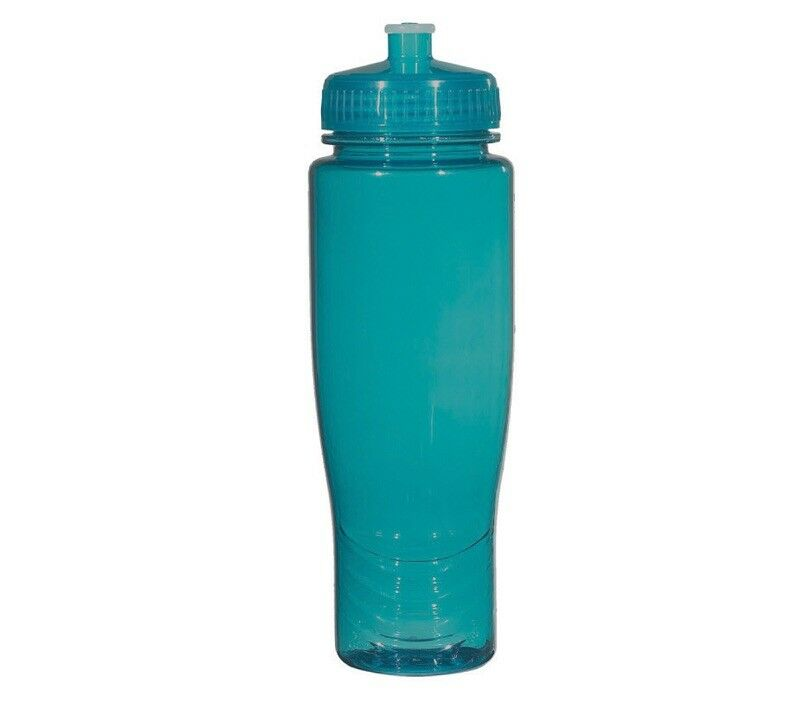 100 Bulk Pack 28 Ounce Teal Water Bottles Lids. USA Made