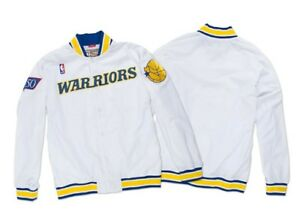 competitive price 5b963 87a9d Details about Authentic Mitchell & Ness NBA White Golden state Warriors  Vintage warm-up Jacket