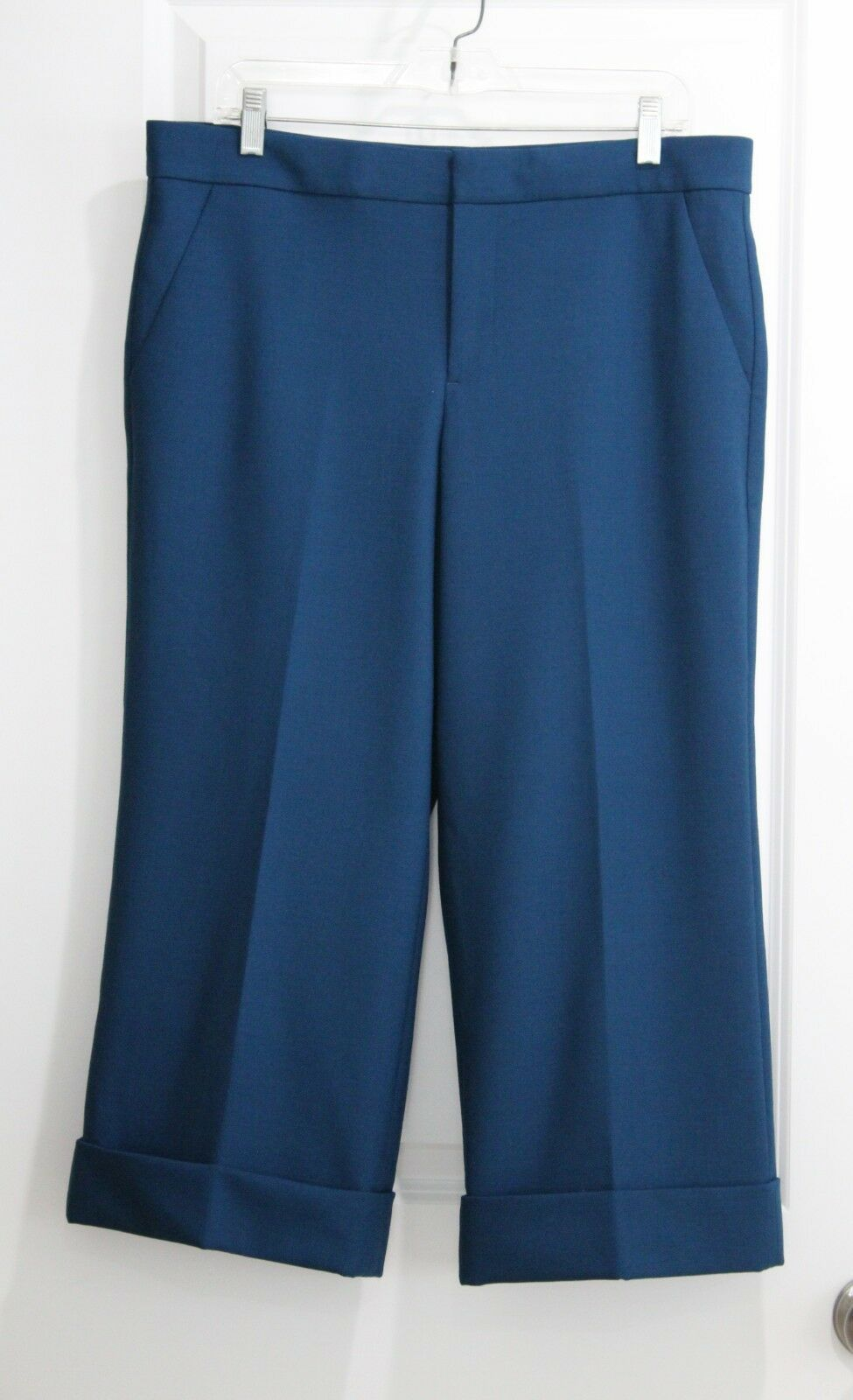 New J Crew COLLECTION CROPPED WIDE LEG TROUSER Sz 12 Stretch Wool bluee Pants