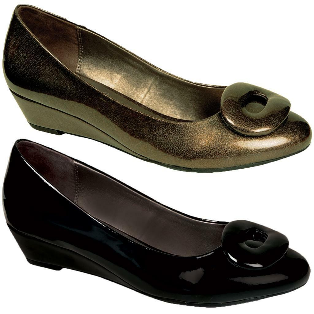 Women's Slip On Shiny Patent Front Oval Buckle Ladies Wedge Low Heels shoes