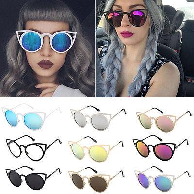 Womens Metal Frame Cat Eye Oversized Designer Retro Vintage Sunglasses Glasses G