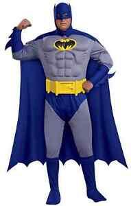 Batman Brave Bold Superhero Fancy Dress Halloween Deluxe Plus Size Adult Costume