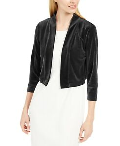 Calvin Klein Womens Jacket Deep Black Size Large L Velvet Shrug Solid $39 107