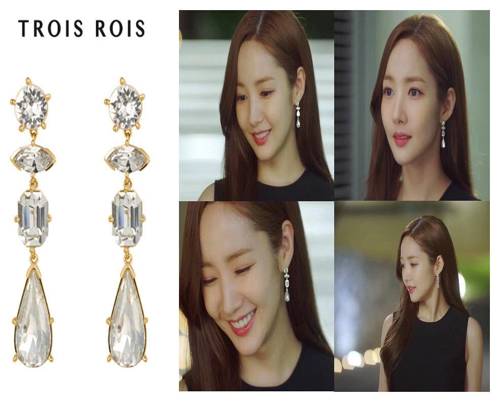 TROIS ROIS Huia Earring Brass Swaroviski Stone TA0218 KIM Secretary Korea