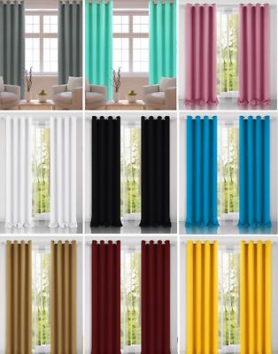 13 Colori ** Occhielli Coppia Di Tende Di Lino & Fermatende Ready Made ** Vendita Uk Venditore- Reputazione In Primo Luogo