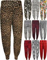 New Plus Size Womens Print Elasticated Long Pants Ladies Harem Trousers 14 - 20