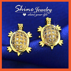 18CT-GOLD-GF-BABY-TURTLE-TORTOISE-LAB-DIAMOND-GIRLS-KIDS-STUD-EARRINGS-XMAS-GIFT