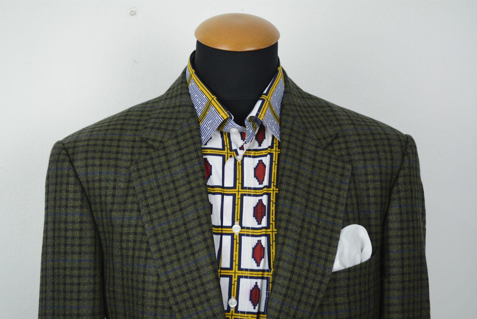 Eduard Dressler Sakko gr 102 52 Slim Karo Grun Blazer Wolle size 42L UK B33