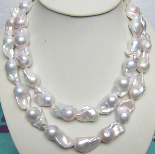 environ 88.90 cm Énorme 15-25 mm South Sea Authentique Blanc Perle Baroque Collier 35 in