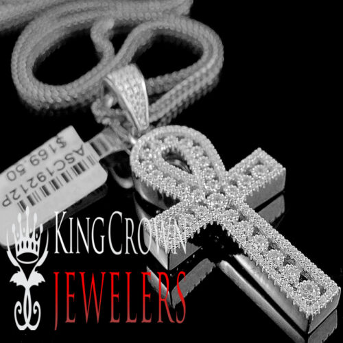 10K White Gold Silver Simu Diamond Egyptian Ankh Cross Pendant Charm Chain Set