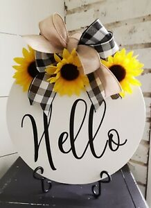 Hello Round Front Door Hanger Everyday Summer Modern Wreath Wall Sunflower 12 Ebay