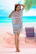 Stylish Striped Beach Swimsuit Cover-up Chiffon Long Sleeve Bathing Dress