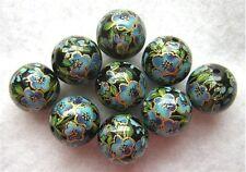 WHOLESALE LOT Tensha Beads FIVE PETAL BLUE FLOWERS Black 12mm-9 Pieces
