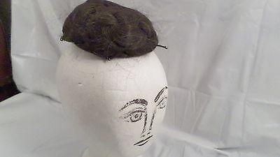 Vintage Dark Brown and Gray Partial Wig Bun Style Wig