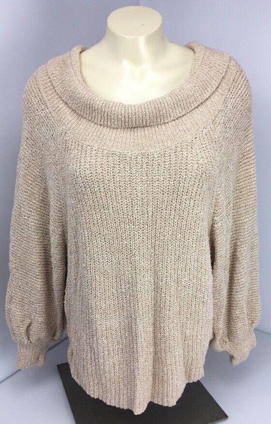 Free People Sweater Size M Beige Boho oversized knit boxy relaxed loose Crop EUC