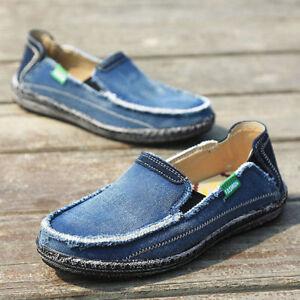 Men-Canvas-Espadrille-Moccasins-Driving-Boat-Shoes-Casual-Slip-On-Denim-Loafers
